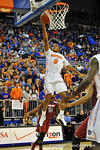 Florida guard Kasey Hill drives to the net, jumps and lays in the bucket.  Florida Gators vs South Carolina Gamecocks.  Gainesville, FL.  January 8, 2013.  Gator Country photo by David Bowie.