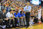 Florida Gator head coach Billy Donovan paces the sideline.  Florida Gators vs Florida State Seminoles.  Gainesville, FL.  November 29, 2013.