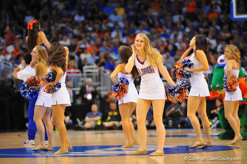The Dazzlers perform during a timeout for the crowd.  Florida Gators vs Pitt Panthers.  March 22nd, 2014.  Gator Country photo by David Bowie.