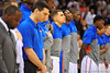 Florida guard Scottie Wilbekin and the Gators listen and sing to the national anthem.  Florida Gators vs Pitt Panthers NCAA Tournament Third Round.  March 22nd, 2014.  Gator Country photo by David Bowie.