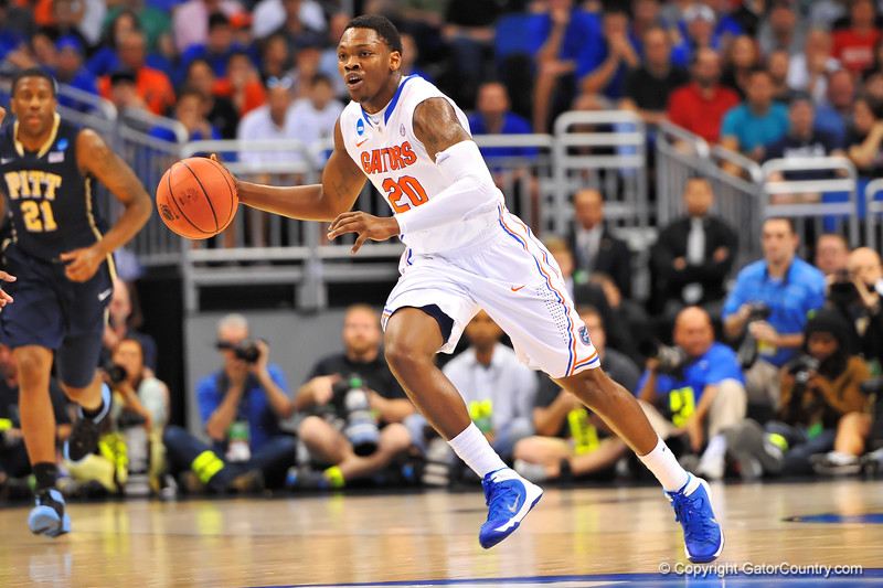 Florida guard Michael Frazier sprints up court following a steal in the first half.  Florida Gators vs Pitt Panthers.  March 22nd, 2014.  Gator Country photo by David Bowie.