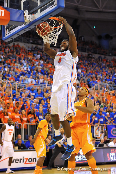 Florida center Patric Young dunks the bal in the first half.  Florida Gators vs Tennessee Volunteers.  January 25, 2013.  Gator Country photo by David Bowie.