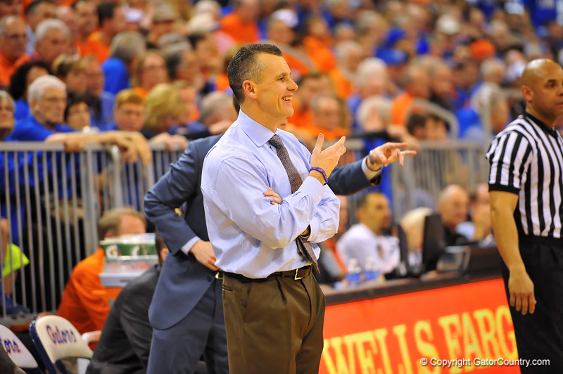 Florida head coach Billy Donovan smiles late in the second half.  Florida Gators vs Tennessee Volunteers.  January 25, 2013.  Gator Country photo by David Bowie.