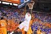 Florida forward Dorian Finney-Smith dunks the ball over the Tennessee players.  Florida Gators vs Tennessee Volunteers.  January 25, 2013.  Gator Country photo by David Bowie.