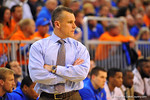 Florida head coach Billy Donovan  walks the sideline during the second half.  Florida Gators vs Tennessee Volunteers.  January 25, 2013.  Gator Country photo by David Bowie.
