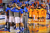 The Florida Gators gather at midcourt prior to the start of the game.  Florida Gators vs Tennessee Volunteers.  January 25, 2013.  Gator Country photo by David Bowie.