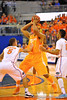 Tennessee forward Jarnell Stokes is double teamed by Gators Scottie Wilbekin and Kasey Hill.  Florida Gators vs Tennessee Volunteers.  January 25, 2013.  Gator Country photo by David Bowie.