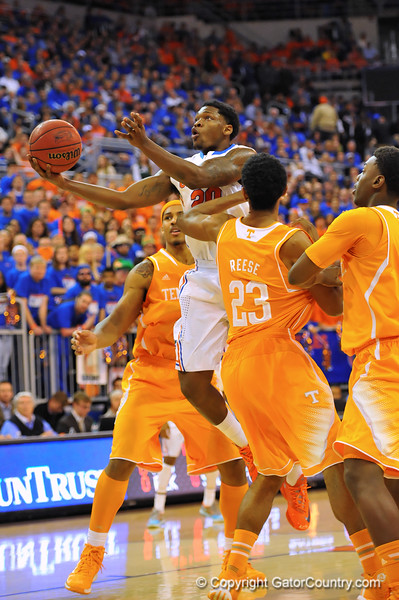 Florida guard Michael Frazier drives to the net.  Florida Gators vs Tennessee Volunteers.  January 25, 2013.  Gator Country photo by David Bowie.