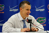 Florida Gators head coach Billy Donovan in the post game interview as he answers questions about the game and his 500th win.  Florida Gators vs Tennessee Vols.  February 28th, 2015. Gator Country photo by David Bowie.