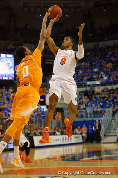 Florida Gators guard Kasey Hill with a shot attempt at the end of the first half.  Florida Gators vs Tennessee Vols.  February 28th, 2015. Gator Country photo by David Bowie.