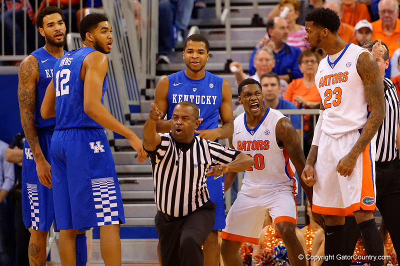 Florida Gators guard Michael Frazier II celebrates a foul called against Kentucky during the first half.  Florida Gators vs Kentucky Wildcats.  February 7th, 2015. Gator Country photo by David Bowie.