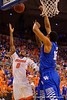 Florida Gators guard Kasey Hill drives to the basket and lays the ball in for the bucket during the first half.  Florida Gators vs Kentucky Wildcats.  February 7th, 2015. Gator Country photo by David Bowie.