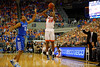 Florida Gators guard Michael Frazier II nails a three pointer during the first half.  Florida Gators vs Kentucky Wildcats.  February 7th, 2015. Gator Country photo by David Bowie.