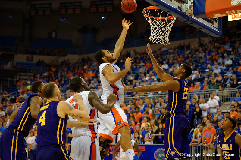 Florida Gators center Jon Horford misses another lay up in the second half for the Gators.  Florida Gators vs LSU Tigers.  January 20th, 2015. Gator Country photo by David Bowie.