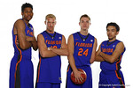 Florida Gators Devon Robinson, Dillon Graham, Zach Hodskins and Chris Chiozza pose during Florida Gators basketball media day.  Florida Gators Basketball Media Day.  October 15th, 2014. Gator Country photo by David Bowie.