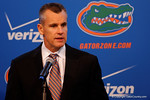 Florida Gators head coach Billy Donovan answers questions during Florida Gators basketball media day.  Florida Gators Basketball Media Day.  October 15th, 2014. Gator Country photo by David Bowie.