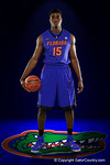 Florida Gators center John Egbunu poses during Florida Gators basketball media day.  Florida Gators Basketball Media Day.  October 15th, 2014. Gator Country photo by David Bowie.
