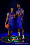 Florida Gators foward Chris Walker and guard Kasey Hill pose during Florida Gators basketball media day.  Florida Gators Basketball Media Day.  October 15th, 2014. Gator Country photo by David Bowie.
