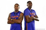 Florida Gators guard Lexx Edwards and forward DeVon Walker pose during Florida Gators basketball media day.  Florida Gators Basketball Media Day.  October 15th, 2014. Gator Country photo by David Bowie.