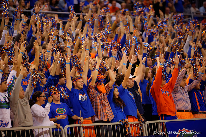 The Rowdy Reptiles cheer on their Florida Gators.  Florida Gators vs LSU Tigers.  January 20th, 2015. Gator Country photo by David Bowie.