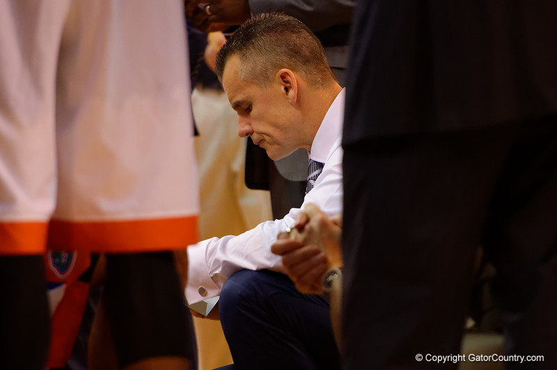 Florida Gators head coach Billy Donovan gathers his team during a timeout in the second half.  Florida Gators vs LSU Tigers.  January 20th, 2015. Gator Country photo by David Bowie.