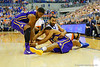 Florida Gators center Jon Horford and LSU Tigers guard Jalyn Patterson fight for a loose ball in the first half.  Florida Gators vs LSU Tigers.  January 20th, 2015. Gator Country photo by David Bowie.