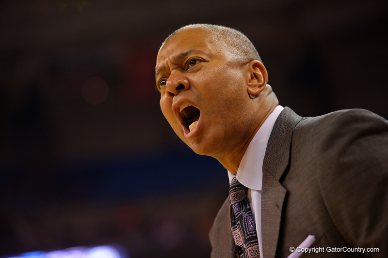 LSU Tigers head coach Johnny Jones argues with a referee during the first half.  Florida Gators vs LSU Tigers.  January 20th, 2015. Gator Country photo by David Bowie.