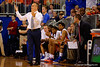 Florida Gators head coach Billy Donovan argues with a referee during the second half.  Florida Gators vs LSU Tigers.  January 20th, 2015. Gator Country photo by David Bowie.