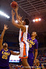 LSU Tigers guard Tim Quarterman attempts to block a shot by Florida Gators forward Devin Robinson in the first half.  Florida Gators vs LSU Tigers.  January 20th, 2015. Gator Country photo by David Bowie.