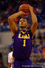 LSU Tigers forward Jarell Martin with a free throw during the second half.  Florida Gators vs LSU Tigers.  January 20th, 2015. Gator Country photo by David Bowie.