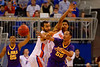 Florida Gators center Jon Horford and Florida Gators forward Devin Robinson defend LSU Tigers guard Tim Quarterman as he passes the ball during the second half.  Florida Gators vs LSU Tigers.  January 20th, 2015. Gator Country photo by David Bowie.