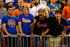 Fans in the Rowdy Reptile section yell and taunt a referee after what the fans thought was a series of bad calls.   Florida Gators vs LSU Tigers.  January 20th, 2015. Gator Country photo by David Bowie.
