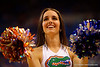 A Florida Gators Dazzler dances for the fans during a timeout.  Florida Gators vs LSU Tigers.  January 20th, 2015. Gator Country photo by David Bowie.