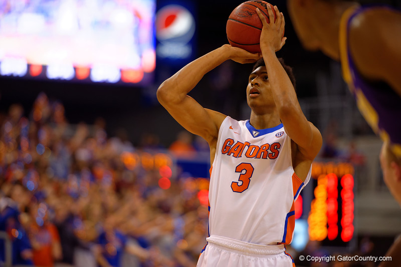 Florida Gators forward Devin Robinson on the free throw line during the first half.  Florida Gators vs LSU Tigers.  January 20th, 2015. Gator Country photo by David Bowie.