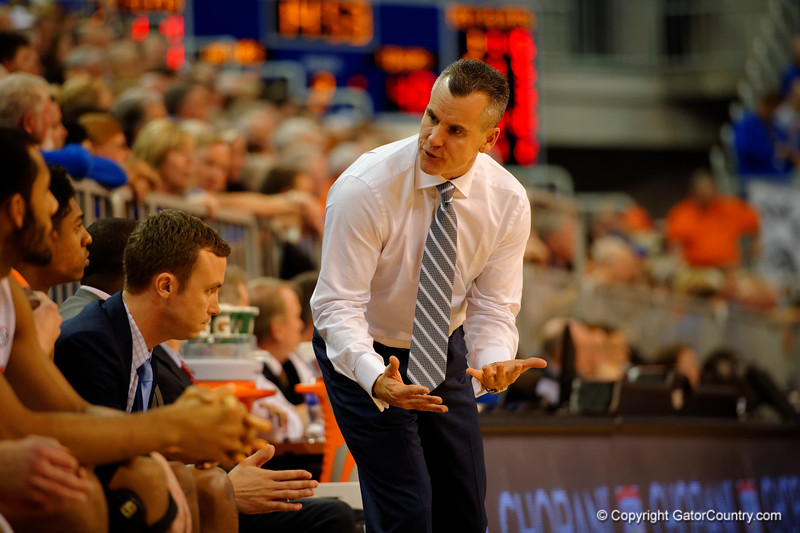 Florida Gators head coach Billy Donovan has some words for the players on the bench during the second half.  Florida Gators vs LSU Tigers.  January 20th, 2015. Gator Country photo by David Bowie.