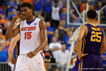 Florida Gators center John Egbunu during the second half as the Florida Gators defeat the LSU Tigers 68-62 at the Stephen C. O'Connell Center.  January 9th, 2016. Gator Country photo by David Bowie.