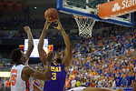 LSU Tigers center Elbert Robinson III leaping for a ball during the first half as the Florida Gators defeat the LSU Tigers 68-62 at the Stephen C. O'Connell Center.  January 9th, 2016. Gator Country photo by David Bowie.