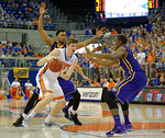 Florida Gators center Schuyler Rimmer dibbles toward the basket during the second half as the Florida Gators defeat the LSU Tigers 68-62 at the Stephen C. O'Connell Center.  January 9th, 2016. Gator Country photo by David Bowie.