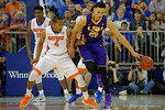 Florida Gators guard KeVaughn Allen gaurding LSU Tigers forward Ben Simmons during the first half as the Florida Gators defeat the LSU Tigers 68-62 at the Stephen C. O'Connell Center.  January 9th, 2016. Gator Country photo by David Bowie.
