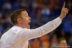 Florida Gators head coach Mike White screams out instructions during the second half as the Florida Gators defeat the LSU Tigers 68-62 at the Stephen C. O'Connell Center.  January 9th, 2016. Gator Country photo by David Bowie.