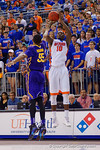 Florida Gators forward Dorian Finney-Smith with a three point shot during the second half as the Florida Gators defeat the LSU Tigers 68-62 at the Stephen C. O'Connell Center.  January 9th, 2016. Gator Country photo by David Bowie.