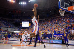 Florida Gators guard DeVon Walker flies through the air thoward the basket during the second half as the Florida Gators defeat the LSU Tigers 68-62 at the Stephen C. O'Connell Center.  January 9th, 2016. Gator Country photo by David Bowie.