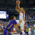 Florida Gators guard KeVaughn Allen driving to the basket during the first half as the Florida Gators defeat the LSU Tigers 68-62 at the Stephen C. O'Connell Center.  January 9th, 2016. Gator Country photo by David Bowie.