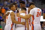 Florida Gators center John Egbunu gathers together the Gators during the second half as the Florida Gators defeat the LSU Tigers 68-62 at the Stephen C. O'Connell Center.  January 9th, 2016. Gator Country photo by David Bowie.
