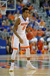 Florida Gators guard Kasey Hill dribbles up court during the second half as the Florida Gators defeat the LSU Tigers 68-62 at the Stephen C. O'Connell Center.  January 9th, 2016. Gator Country photo by David Bowie.