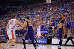 Florida Gators guard Justin Leon drains a three pointer during the second half as the Florida Gators defeat the LSU Tigers 68-62 at the Stephen C. O'Connell Center.  January 9th, 2016. Gator Country photo by David Bowie.