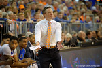 Florida Gators head coach Mike White coaching up his players during the first half as the Florida Gators defeat the LSU Tigers 68-62 at the Stephen C. O'Connell Center.  January 9th, 2016. Gator Country photo by David Bowie.