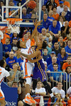 Florida Gators forward Devin Robinson defending the basket during the second half as the Florida Gators defeat the LSU Tigers 68-62 at the Stephen C. O'Connell Center.  January 9th, 2016. Gator Country photo by David Bowie.