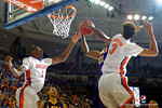 Florida Gators guard DeVon Walker leaps to block a shot during the first half as the Florida Gators defeat the LSU Tigers 68-62 at the Stephen C. O'Connell Center.  January 9th, 2016. Gator Country photo by David Bowie.