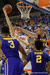 Florida Gators center Schuyler Rimmer is fouled by LSU Tigers guard Keith Hornsby during the second half as the Florida Gators defeat the LSU Tigers 68-62 at the Stephen C. O'Connell Center.  January 9th, 2016. Gator Country photo by David Bowie.